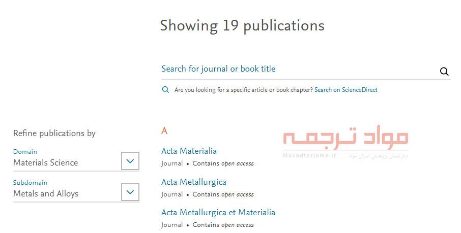 انتشارات در ScienceDirect